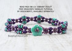 READ THE LENGTH CAREFULLY TO INSURE YOULL HAVE ENOUGH BEADS. CONTACT ME IF YOU NEED A FEW MORE.  Ive created a bead pack in a colorway BB-131 Vibrant Violet Dragonfly, using the DRAGONFLY BANGLES bracelet tutorial by Deborah Roberti.  The tutorial is free and available here: http://www.aroundthebeadingtable.com/Tutorials/Dragonfly.html  It has a button flower button for its clasp which IS INCLUDED. The instructions do not include a way to attach the button I used, but its ...