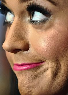 Extreme close-up of Katy Perry, sans retouching.
