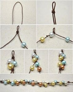 This DIY jewelry tutorial is going to show you how to make four-colored floating pearl necklace with simple knotting techniques. by diy jewelry inspiration Diy Jewelry Tutorials, Diy Jewelry Making, Jewelry Crafts, Jewelry Ideas, Making Bracelets, Diy Jewelry To Sell, Video Tutorials, Jewelry Supplies, Leather Jewelry