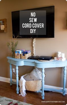 A Pottery Barn inspired diy cord cover that requires no sewing. Tv Cord Cover, Knock Off Decor, Lamp Cover, Pottery Barn Inspired, Teen Room Decor, Cheap Furniture, Diy Wall, Home Projects, Sewing Projects