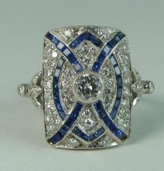 Art Deco 18k Wg Diamond And Sapphire Ring