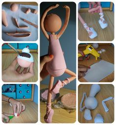 tutoral (photos) for making a ballerina figurine in clay Foam Crafts, Diy Arts And Crafts, Hobbies And Crafts, Crafts For Kids, Diy Crafts, Clay Dolls, Art Dolls, Box Surprise, Fondant Figures Tutorial
