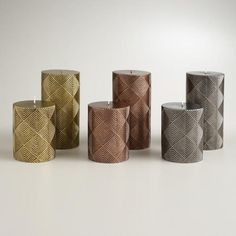 One of my favorite discoveries at WorldMarket.com: Metallic Deco Pillar Candles ****SILVER****