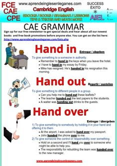 "What's the difference in meaning between the phrasal verbs ""hand in"", ""hand out"" and ""hand over""? Have a look at the grammar sheet below to learn when and how to use each of them. FCE, CAE, CPE Key Word Transformation Hand in , Hand out, Hand over"