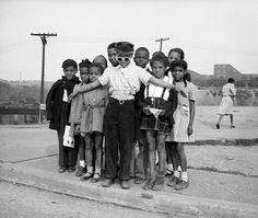 Boy school crossing guard, 1947. Charles Harris
