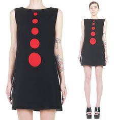 Vintage 60s Rare PIERRE CARDIN Space Age Mod Blk Red 3D Cut-Out Dots Mini Dress