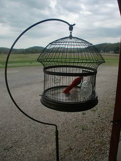 Antique Hendryx Bird Cage with Ornate Stand + Feeders USA Made  New Haven, Conn.