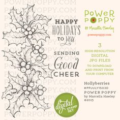 Hollyberries Digital Stamp Set | Power Poppy by Marcella Hawley