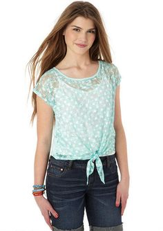 Print Lace Tie Front Short-Sleeve