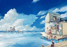 Anime Original  Anime House Sea Dog Cat People Wallpaper