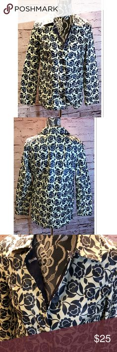 OLD NAVY FLORAL RAIN SLICKER Cute rain coat with an adorable floral navy and white print Old Navy Jackets & Coats