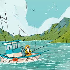 Catch of the Wild Atlantic Way // Fishing illustration | Joe Todd-Stanton, for the Tourist Board of Ireland