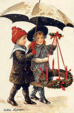 A boy and girl walk outdoors. He carries an umbrella for the both of them as protection from the lightly falling snow. She carefully holds the Adventskranz suspended from ribbons.