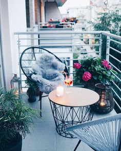 string-chairs and matching coffee table and lantern on tiny balcony Patio Balcony Ideas, Small Balcony Decor, Small Terrace, Apartment Balcony Garden, Balcony Chairs, Balcony Decoration, Balcony Furniture, Small Apartment Patios, Small Balcony Garden