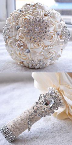 Flowers Petals and Garlands 20938: Handmade Rose Silk Pearl Rhinestone Bridal Wedding Bouquet Bridesmaid Beige -> BUY IT NOW ONLY: $30.99 on eBay!