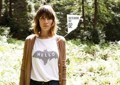 alexa chung in the great outdoors, threadless t-shirt and earth cardigan