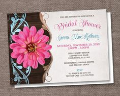 Rustic Country Pink Zinnia Bridal Shower Invitations – Artistically Invited