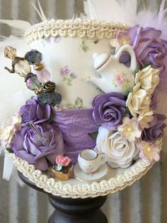 88cb378b389 Mini Top Hat Tea Cup hat Purple Tea Pot Alice in by ChikiBird Tea Hats