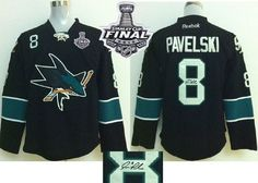 ae8ddac36d6 Sharks #8 Joe Pavelski Black Autographed 2016 Stanley Cup Final Patch  Stitched NHL Jersey Cheap