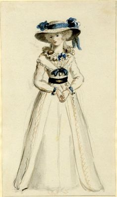 Study of a young lady; whole-length to front, wearing long dress with blue bow and large-brimmed hat with blue flowers and ribbon Watercolour over graphite British Museum 1962,0714.10