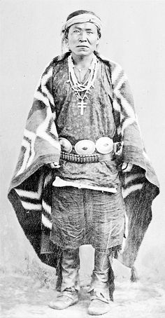 Navajo Man in Native Dress with Concha Belt and Ornaments - 1905