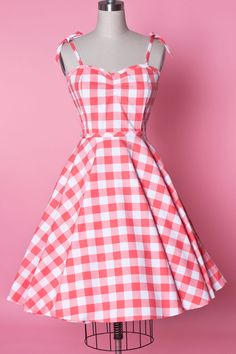 Sarah Dress - Picnic Gingham Coral - Heart of Haute  - 1