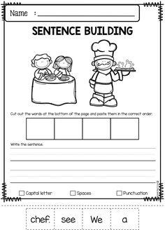 September Sentence Building by Miss Faleena Writing Sentences Worksheets, Sentence Writing, Writing Practice, Writing Skills, Math Skills, Numbers Kindergarten, Free Kindergarten Worksheets, Kindergarten Writing, Literacy