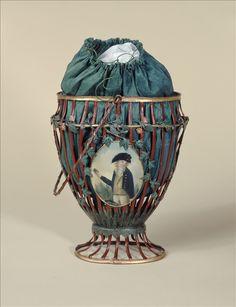 Bag, 1794 Openwork metal basket painted red, leaf green and gold; green silk taffeta bag; metal medallions painted on each side.