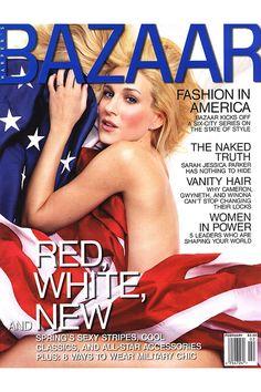 Sarah Jessica Parker on Harper's Bazaar February 2001- see Bazaar's most patriotic moments here.