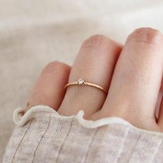 Tiny .03ct Diamond Solitaire Ring. 14K Gold #rings