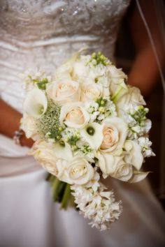 White and Cream Flowers with Slight Cascade, Vendella roses, Callas, stock, queen ann's lace.