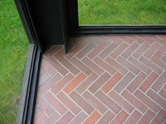 I adore these terracotta bricks laid in a herringbone pattern on the floor of Philip Johnson's Glass House Classic Architecture, Architecture Details, Philip Johnson Glass House, Brick Laying, Outside Room, Ludwig Mies Van Der Rohe, Mid-century Modern, Flooring, Terracotta Tile