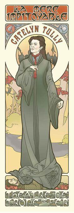 Les filles de la série Game Of Thrones imaginées version déesses Art Nouveau par l'illustratrice Elin Jonsson qui transporte les personnages de Westeros dans l'univers graphique d'Alfons Mucha.