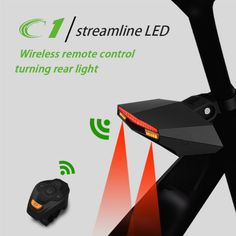 Bike Taillight Safety Warning USB Rechargeable Wireless Remote Turning Rear Bicycle Light