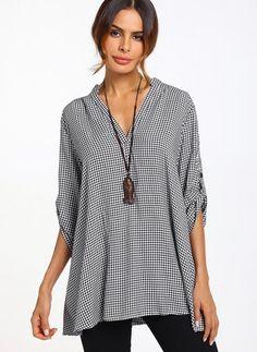 Lässige Kleidung kurze Ärmel Schottenkaro Baumwolle Leinen V-Ausschnitt Hemden - Floryday @ floryday.com