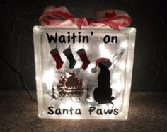Waitin' On Santa Claws Christmas Lighted by SchulersGlassDecor