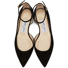 Suede ballerina flats in black. Pointed toe. Adjustable ankle strap with pin-buckle fastening. Leather sole in beige. Tonal stitching.