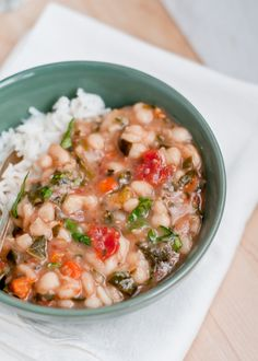 Cafe Johnsonia: Slow Cooker Vegan White Bean Stew... easy with accesible ingredients. Love the greens!