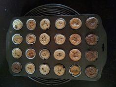 Mini ponquecitos de guayaba, coco, naranja, higo, cacao y vainilla.  Todos libres de gluten,  azúcar, huevos, lácteos y soja.