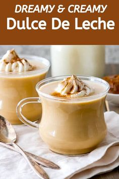 This homemade Mexican Hot Dulce De Leche is as comforting as hot chocolate. Creamy rich and satisfying this dulce de leche recipe only requires 3 ingredients! Jam Recipes, Coffee Recipes, Snack Recipes, Dessert Recipes, Cooking Recipes, Snacks, Yummy Drinks, Yummy Food, Food Porn
