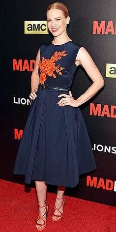 in a navy Preen number with coral appliqués, Nicholas Kirkwood heels and her newly pink hair at the Mad Men special...