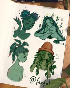 Some plant girls These were so fun to make I want to draw like a 100 more of themI think Ill try drawing some fruit haired girls or vegetable haired girls next which ones your favorite? I think D is mine just because shes a literal pothead Cute Drawings, Drawing Sketches, Posca Art, Arte Sketchbook, Cute Art Styles, Pretty Art, Character Design Inspiration, Aesthetic Art, Cartoon Art