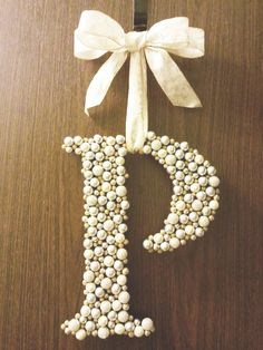 Letter 'wreath' made by gluing Christmas berries from the craft store to a wood letter. by &Den Concept Craft Gifts, Diy Gifts, Letter Wreath, Christmas Berries, Christmas Decor, Christmas Tree, Diy And Crafts, Arts And Crafts, Floral Letters