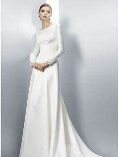 Satin Bateau Neckline A-Line Wedding Dress with Floral Sheer Button Back - Bridal Gowns - RainingBlossoms