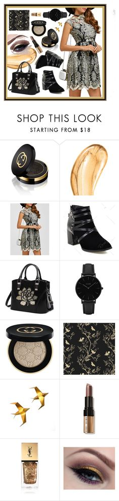 """""""Lace Rose"""" by beanpod ❤ liked on Polyvore featuring Gucci, Tom Ford, CLUSE, Timorous Beasties, Bobbi Brown Cosmetics and Yves Saint Laurent"""
