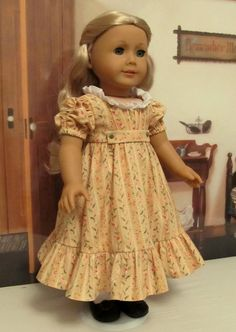 "Butter Yellow Regency Dress, Made to Fit 18"" American Girl Doll Caroline, An Original Keepers Design"