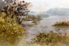 "https://www.facebook.com/MiaFeigelson ""Wetlands, Kushiro, Hokkaido, Japan"" ""「釧路湿原」"" By Kiyoharu Narazaki, from Fukuoka-shi, Japan - watercolor - https://www.facebook.com/kiyoharu.narazaki"