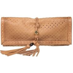 Pre-owned Gucci New W/tags Gold Studded Oversize Clutch Tan Clutch (7,530 SAR) ❤ liked on Polyvore featuring bags, handbags, clutches, tan, beige leather purse, beige leather handbag, gucci purses, tan leather handbags and tan handbags