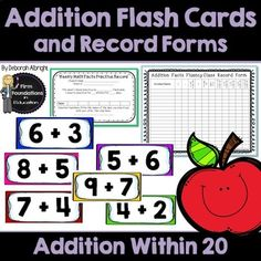 Addition Flash Cards- Add Within Math Fact Fluency Program with student and teacher record charts Second Grade Math, 4th Grade Math, Multiplication Facts, Math Facts, Common Core Math, Common Core Standards, Addition Flashcards, Math Flash Cards, Math Fact Fluency