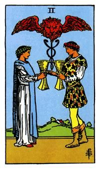 Cups Minor Arcana of the Raider-White tarot I - Spiritual Reading The man and woman are their own symbols, while together their represent the union of opposites in order to create balance.